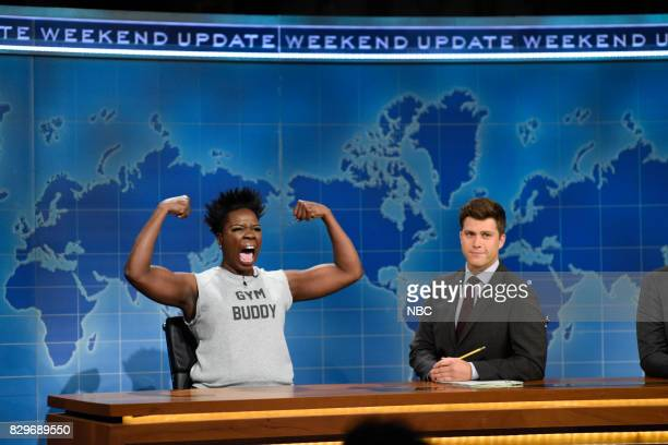 Episode 101 -- Pictured: Leslie Jones with Colin Jost from Studio 8H on August 10, 2017 --