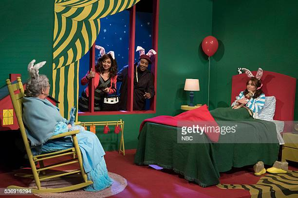 Martin Short as Nana Maya Rudolph as Karen Kenan Thompson as Dave Miley Cyrus during the Goodnight Moon sketch on May 31 2016
