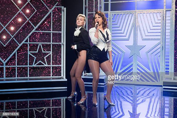 Miley Cyrus Maya Rudolph during the Miley Maya Medley sketch on May 31 2016
