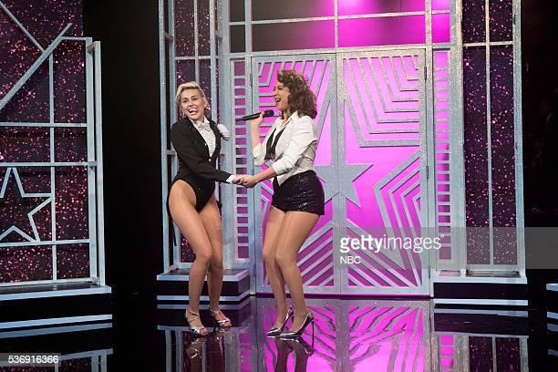 Miley Cyrus Maya Rudolph during the 'Miley Maya Medley' sketch on May 31 2016