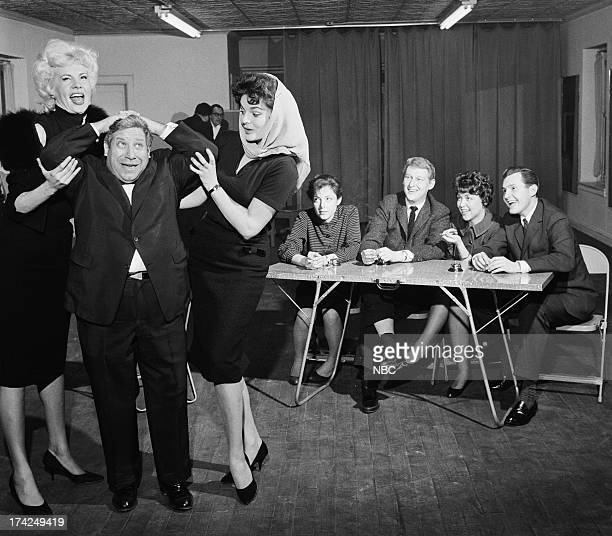 Regular comedic performers Michael Enserro Marilyn Hanold panelists Elaine May Mike Nichols Dorothy Loudon guest panelist Orson Bean during rehearsal...