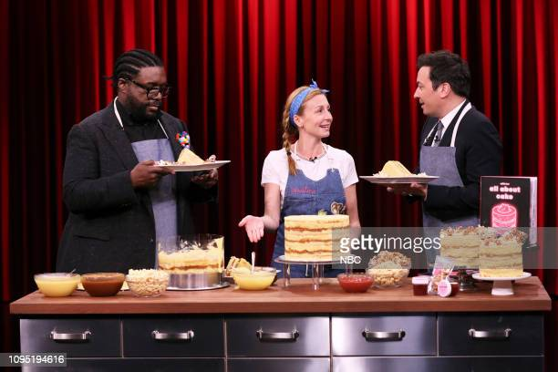 Ahmir Questlove Thompson chef Christina Tosi and host Jimmy Fallon during a Cooking Demo on February 7 2019