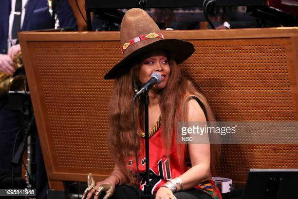 Singer Erykah Badu sitsin with The Roots on February 8 2019