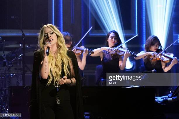 Episode 1015 -- Pictured: Musical guest Avril Lavigne performs on February 13, 2019 --