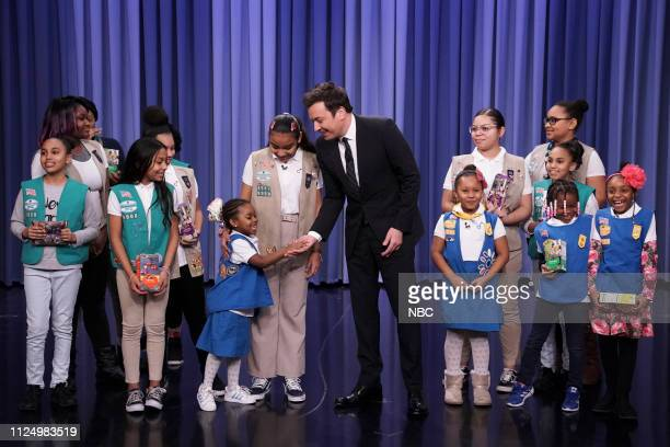 Host Jimmy Fallon with Girl Scout Troop 6000 on February 14 2019