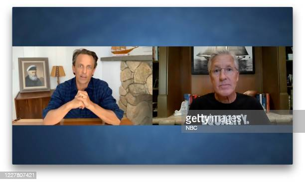 MEYERS Episode 1017A Pictured in this screen grab Host Seth Meyers talks with Seattle Seahawks head coach Pete Carroll on July 27 2020