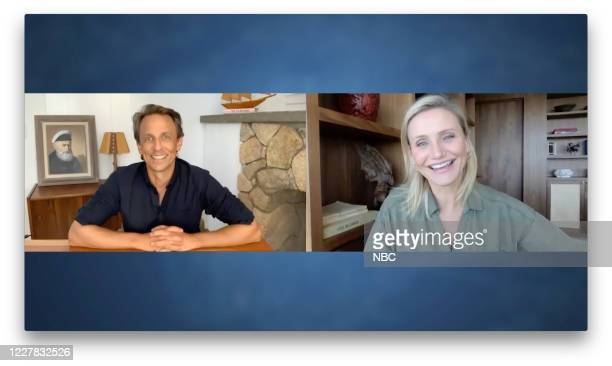Episode 1018A -- Pictured in this screen grab: Host Seth Meyers talks with actress Cameron Diaz on July 28, 2020 --
