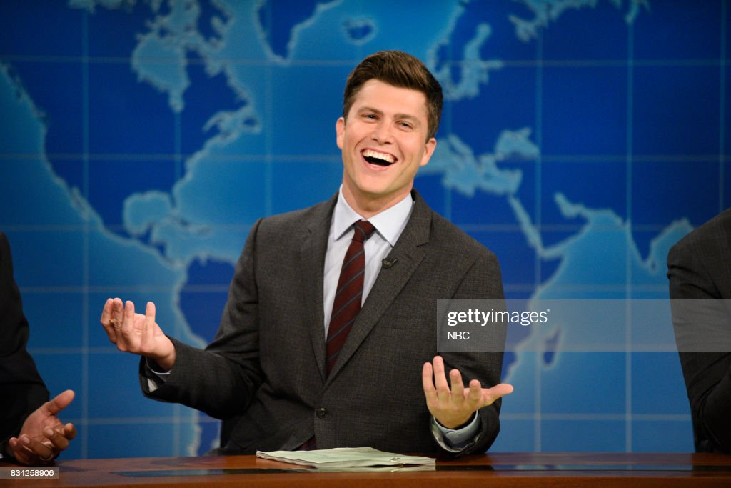 Colin Jost at the Weekend Update desk on August 17, 2017 --
