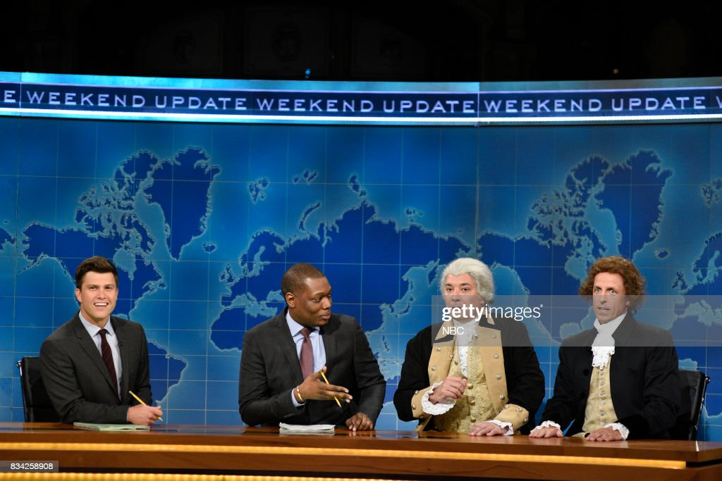 Colin Jost, Michael Che, Jimmy Fallon as George Washington and Seth Meyers as Thomas Jefferson at the Weekend Update desk on August 17, 2017 --