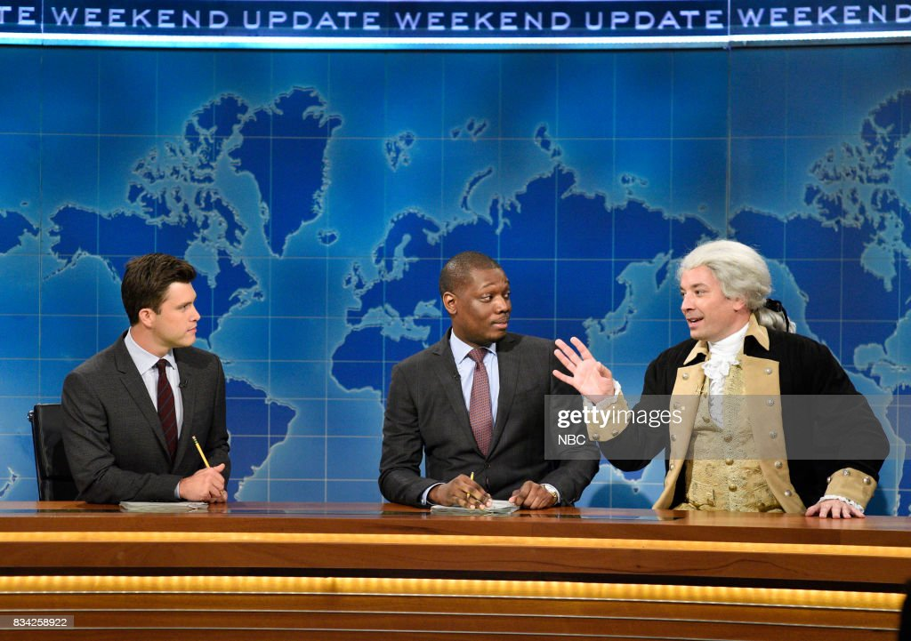 Colin Jost, Michael Che, Jimmy Fallon as George Washington at the Weekend Update desk on August 17, 2017 --