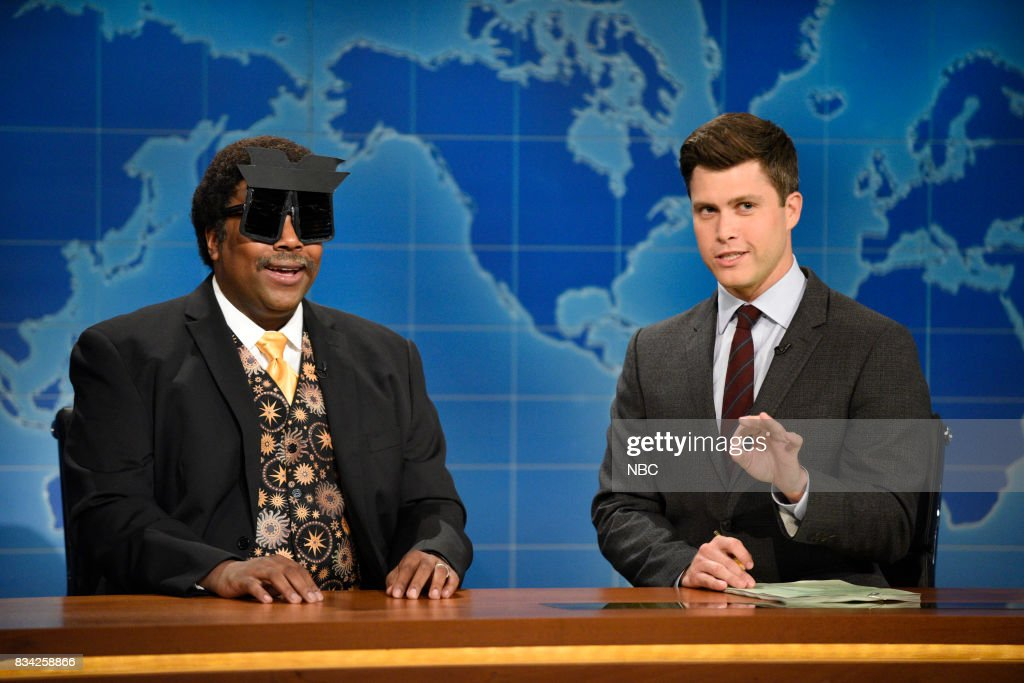 Kenan Thompson as Neil deGrasse Tyson, Colin Jost at the Weekend Update desk on August 17, 2017 --