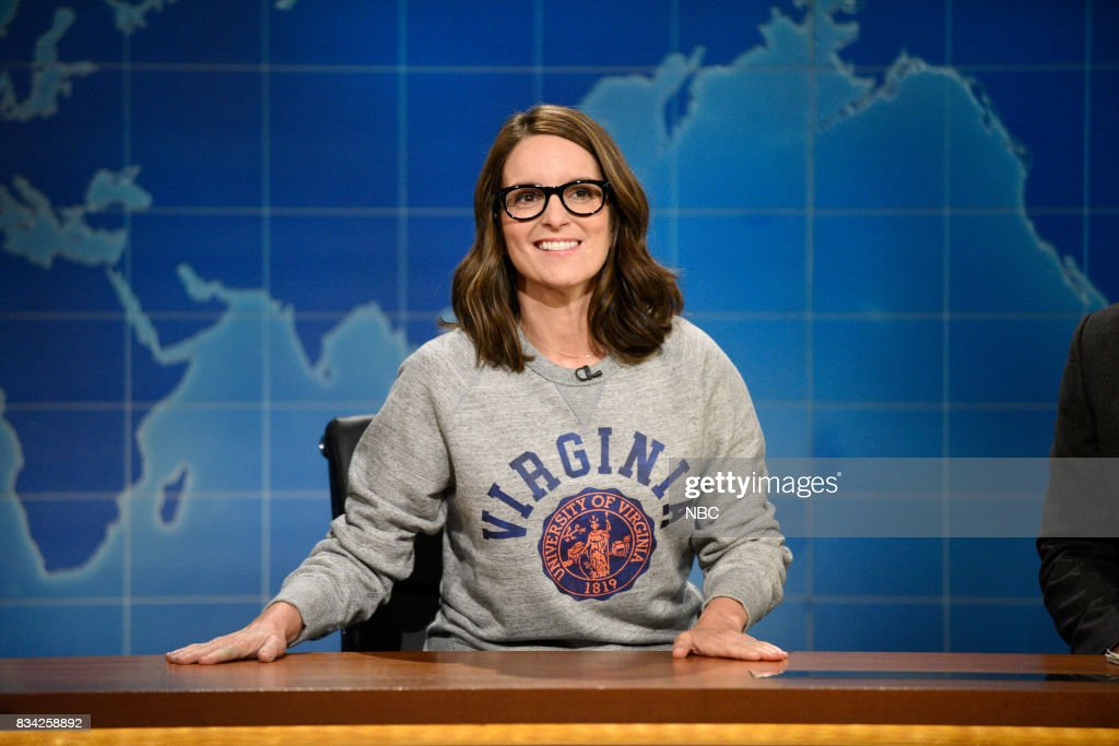 Tina Fey at the Weekend Update desk on August 17, 2017 --