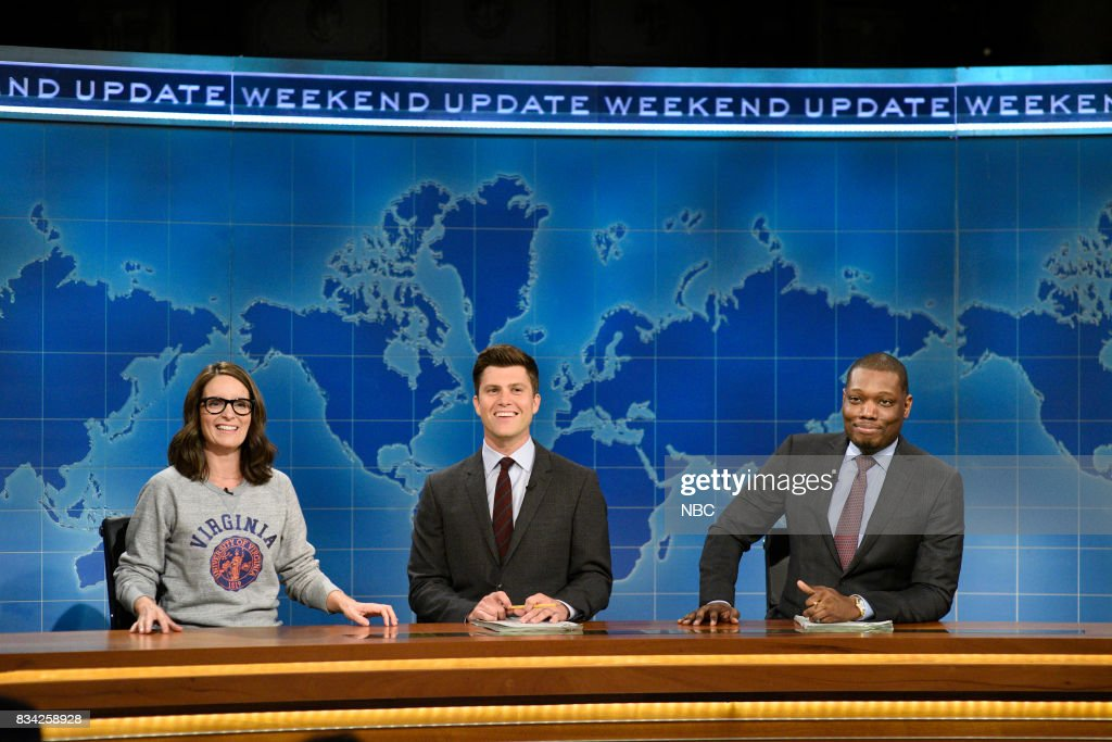 Tina Fey, Colin Jost and Michael Che at the Weekend Update desk on August 17, 2017 --