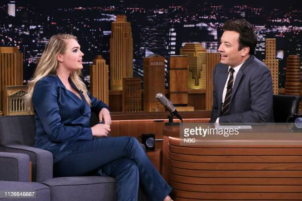 Model Kate Upton during an interview with host Jimmy Fallon on February 21 2019