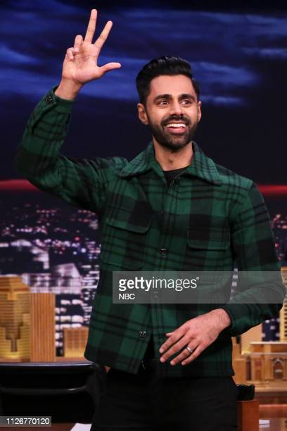Episode 1021 -- Pictured: Comedian Hasan Minhaj arrives to the show on February 22, 2019 --