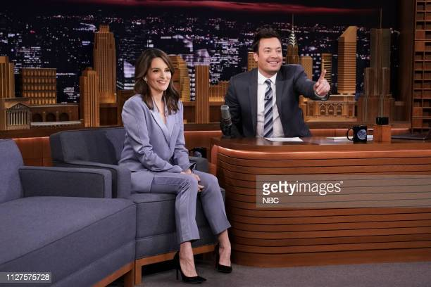 Actress Tina Fey during an interview with host Jimmy Fallon on February 25 2019