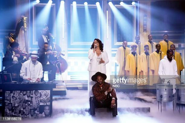 Episode 1025 -- Pictured: Musical guest 2 Chainz featuring Marsha Ambrosius performs on February 28, 2019 --