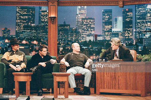 Johnny Blasier actor Matt LeBlanc musical guest Phil Collins during an interview with host Jay Leno on November 7 1996