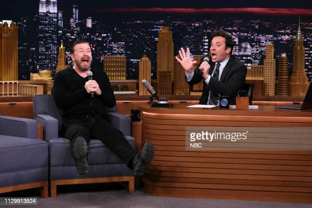 Comedian Ricky Gervais and host Jimmy Fallon during 'Singing In The Face' on March 11 2019