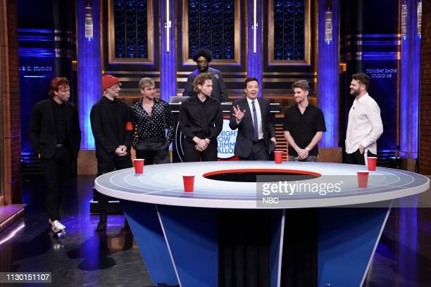 Musical guest The Chainsmokers and 5 Seconds of Summer play 'Musical Beers' with host Jimmy Fallon and Ahmir 'Questlove' Thompson on March 12 2019