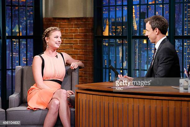 Actress Emily VanCamp during an interview with host Seth Meyers on September 25 2014