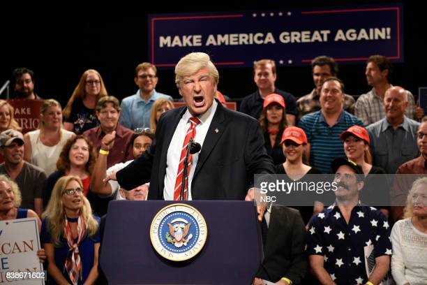 Alec Baldwin as President Donald Trump during a Trump Phoenix Rally on August 24 2017