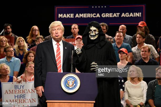 Alec Baldwin as President Donald Trump with The Grim Reaper/Steve Bannon during a 'Trump Phoenix Rally' on August 24 2017