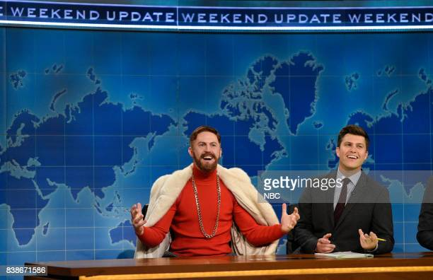 Alex Moffat as Conor McGregor with Colin Jost at the Update Desk on August 24 2017