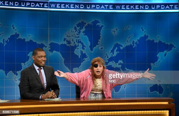 Michael Che with Cecily Strong as Cathy Anne at the Update Desk on August 24 2017