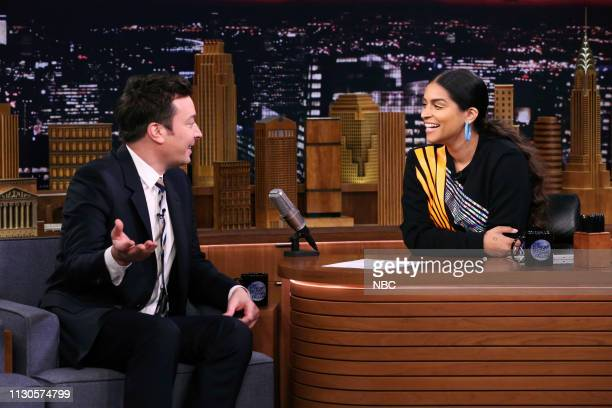 Host Jimmy Fallon and comedian Lilly Singh switch places during their interview on March 14 2019