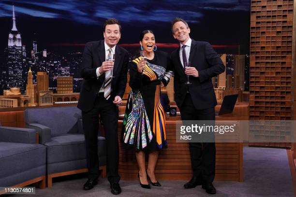 Host Jimmy Fallon comedian Lilly Singh and 'Late Night' host Seth Meyers during a special announcement on March 14 2019