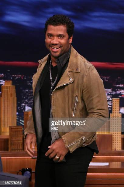 Football quarterback Russell Wilson arrives to the show on March 15 2019