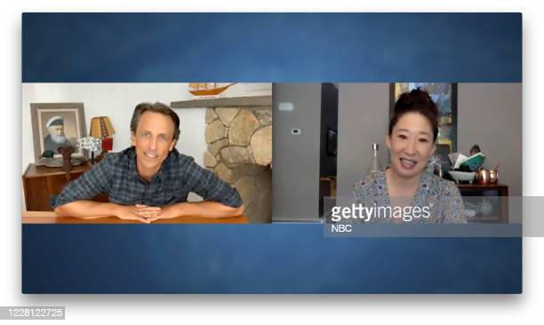 Episode 1031A -- Pictured in this screen grab: Host Seth Meyers talks with actress Sandra Oh on August 19, 2020 --