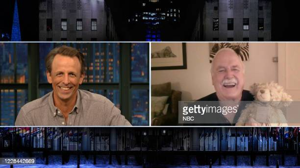 MEYERS Episode 1034A Pictured in this screen grab Host Seth Meyers talks to actor John Cleese on September 9 2020