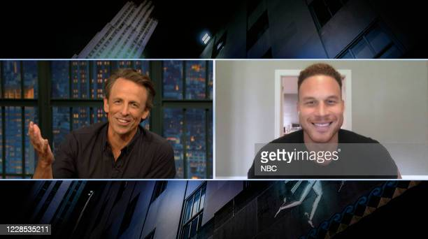 Episode 1037A -- Pictured in this screen grab: Host Seth Meyers talks with NBA player Blake Griffin on September 15, 2020 --