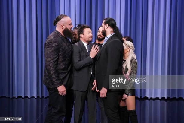 Host Jimmy Fallon with WWE Superstars Braun Strowman Carmella Drew McIntyre Alex Bliss Kofi Kingston and Seth Rollins on April 3 2019