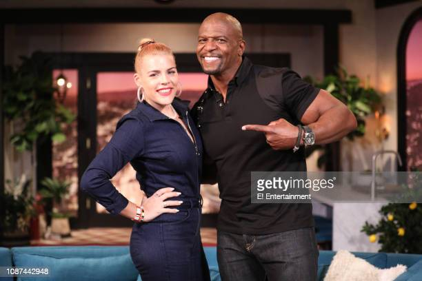 Host Busy Philipps and guest Terry Crews on the set of Busy Tonight
