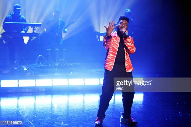 Episode 1041 -- Pictured: Musical guest Khalid performs on April 4, 2019 --