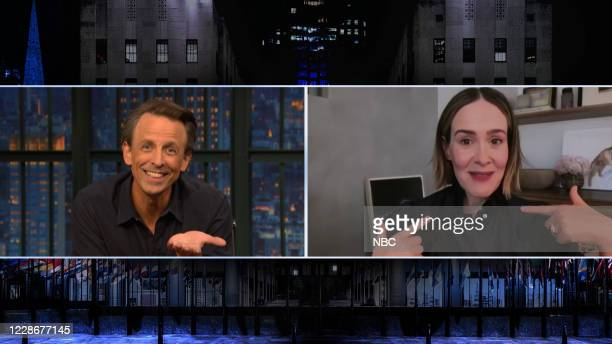 Episode 1042A -- Pictured in this screen grab: Host Seth Meyers talks with actress Sarah Paulson on September 23, 2020 --