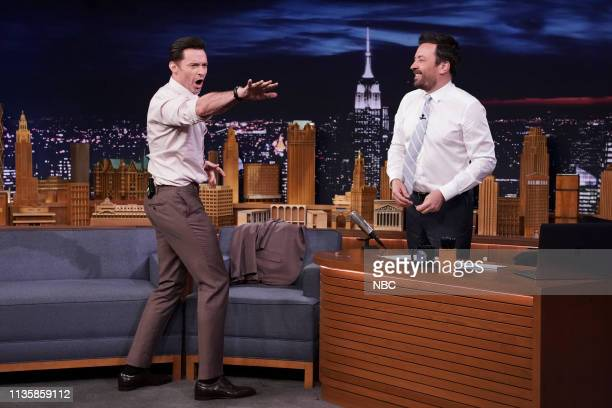 Episode 1043 -- Pictured: Actor Hugh Jackman during an interview with host Jimmy Fallon on April 8, 2019 --