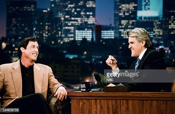 Actor Sylvester Stallone host Jay Leno on December 4 1996