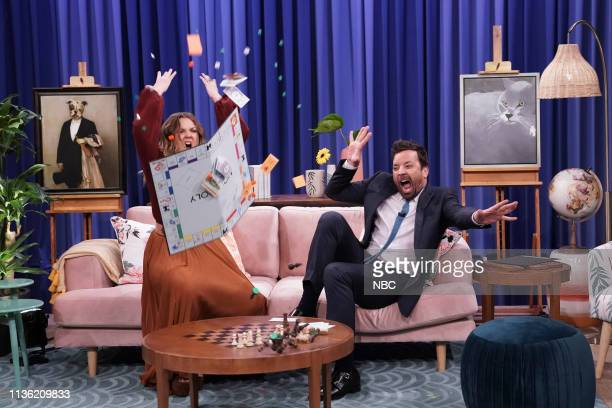 "Episode 1045 -- Pictured: Actress Drew Barrymore and host Jimmy Fallon during ""Catalog Photo Shoot"" on April 10, 2019 --"