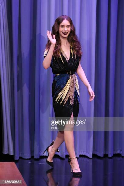 Actress Lily Collins arrives to the show on April 10 2019