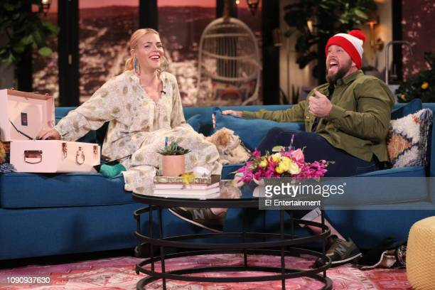 Host Busy Philipps and guest Chris Sullivan on the set of Busy Tonight