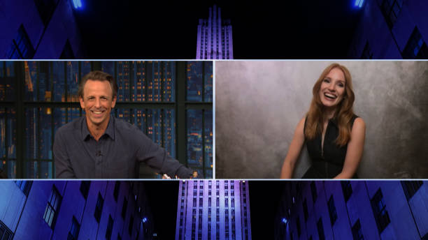 "NY: NBC'S ""Late Night with Seth Meyers"" With Guests Jessica Chastain, John Slattery"