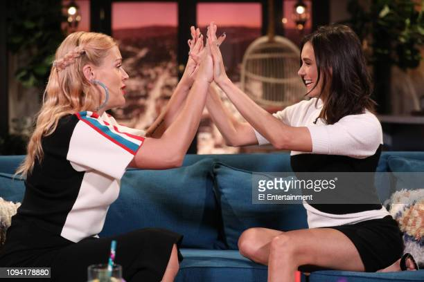 Host Busy Philipps and guest Nina Dobrev on the set of Busy Tonight