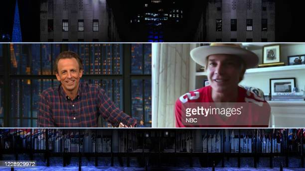 Episode 1049A -- Pictured in this screen grab: Host Seth Meyers talks with actor Timothy Olyphant, on October 6, 2020 --