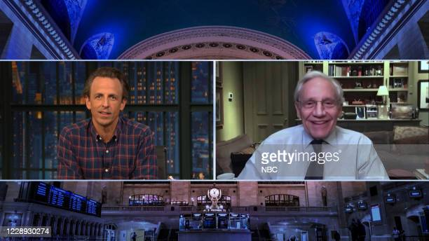 Episode 1049A -- Pictured in this screen grab: Host Seth Meyers talks with journalist Bob Woodward on October 6, 2020 --