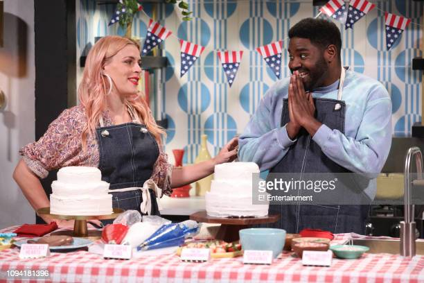 Host Busy Philipps and guest Ron Funches on the set of Busy Tonight