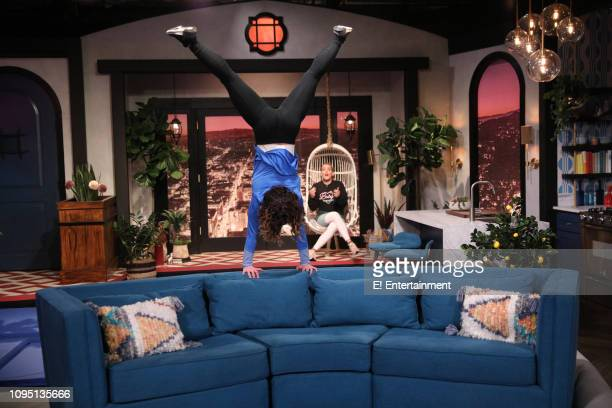 Guest Katelyn Ohashi and host Busy Philipps on the set of Busy Tonight